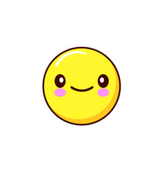 smiling emoticon icon kawaii flat design vector image