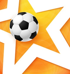 Soccer football poster Bright orange background vector image