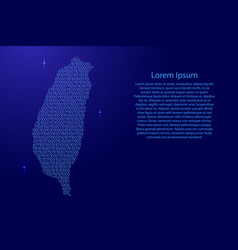taiwan map abstract schematic from blue ones and vector image