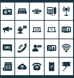 Telecommunication icons set with cloud access vector