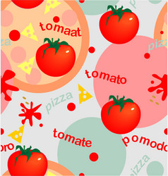 Tomatoes and pizza vector