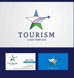 Travel uzbekistan flag creative star logo and vector
