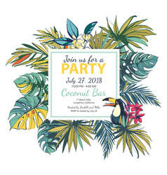 tropical floral summer party poster with pal vector image