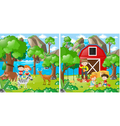 two farm scenes with kids and farmer vector image
