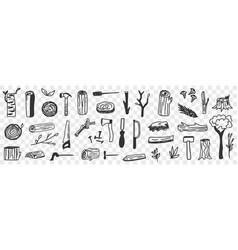 various lumberjack tools doodle set vector image