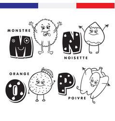 french alphabet monster hazelnuts orange vector image vector image