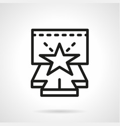 stage with star simple line icon vector image