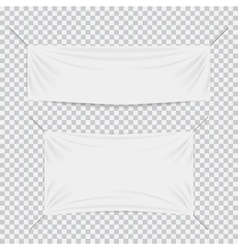 White textile banners with folds template set vector image