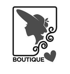 woman fashion dress or hat boutique and atelier vector image