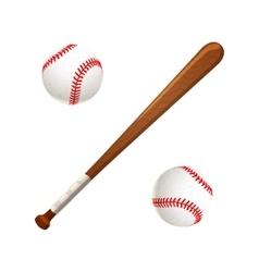 Baseball bat and balls on white vector image