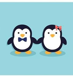 Cute Penguin Couple vector image vector image