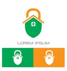 home shield lock logo vector image