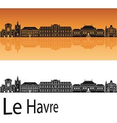 Le Havre skyline in orange background vector image vector image