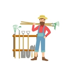 Bearded Man With Stack Of Farming Equipment vector image