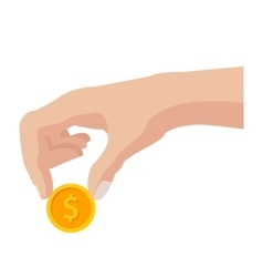 Hand with Coin vector image vector image