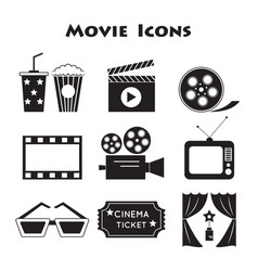 set of movie icons vector image