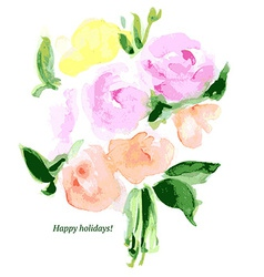 Sketch watercolor flowers vector image