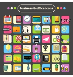 Business Stationery Supplies Icons Set vector image vector image