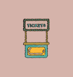 Carnival ticket booth in hatching style vector
