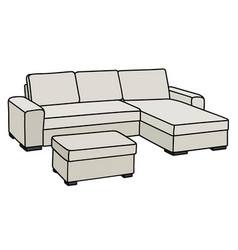Comfortable big light couch vector