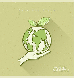 Globe in hand save the earth concept design vector image vector image