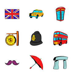 london icons set cartoon style vector image