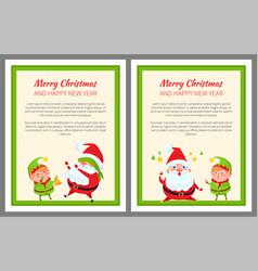 Santa and elf cartoon playing in hide-and-seek set vector