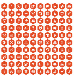 100 nursery icons hexagon orange vector