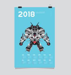 2018 calendar design template 3d realistic robot vector