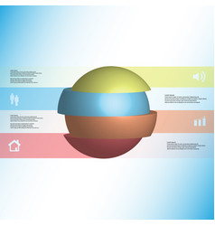 3d infographic template with ball sliced to four vector image