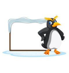 a penguin and blank board vector image