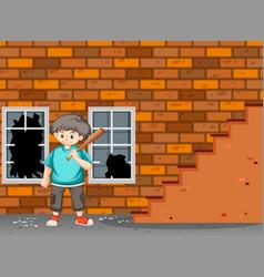 A trouble boy break the window vector
