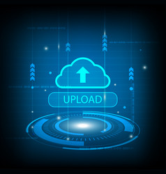 abstract upload cloud circle digital technology vector image