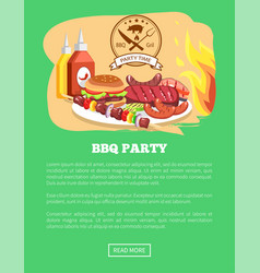 bbq party website and button vector image