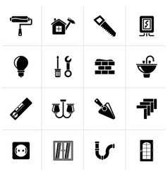 Black home repair and renovation icons vector