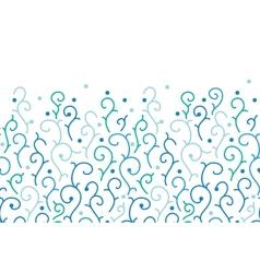 Blue abstract swirls horizontal seamless pattern vector image