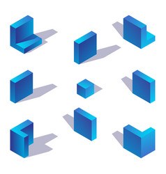 blue gradient english letter l isometric with vector image