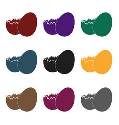 broken chocolate egg easter single icon in black vector image vector image