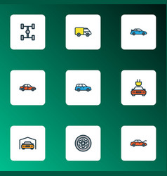 car icons colored line set with sport wheel vector image