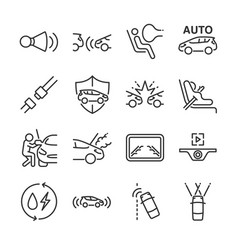 Car line icon set vector