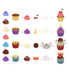 cartoon color create your cupcake concept icon set vector image