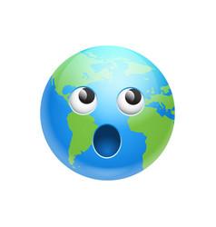 Cartoon earth face screaming emotion icon funny vector