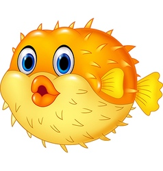 Cartoon puffer fish isolated on white background vector
