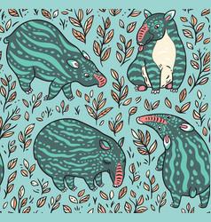 cartoon tapirs seamless pattern green tapirs with vector image