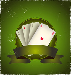 casino poker aces banner vector image