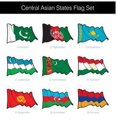 Central asian states waving flag set vector
