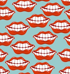 Cheerful smile lip seamless pattern Red lips and vector image