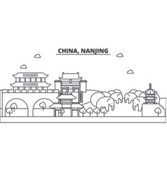 china nanjing architecture line skyline vector image