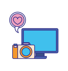 computer screen with objects isolated icon vector image