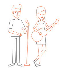 couple singing with microphone and playing guitar vector image